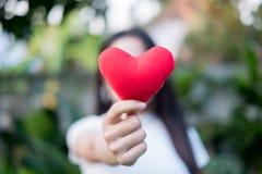 La mano es lleva a cabo un corazón rojo por la tarde para substituir el amor en la tarjeta del día de San Valentín Dé el corazón  foto de archivo