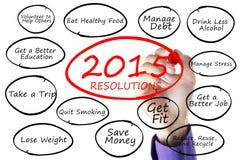 La mano escribe las resoluciones 2015 Imágenes de archivo libres de regalías