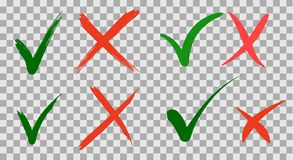 La mano escrita hace y no comprueba dise?o de la marca de la se?al y de letras de los iconos del checkbox de la Cruz Roja en fond stock de ilustración
