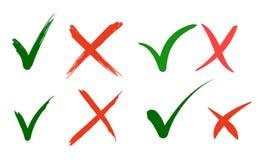 La mano escrita hace y no comprueba el diseño de la marca de la señal y de letras de los iconos del checkbox de la Cruz Roja aisl stock de ilustración