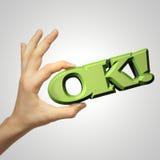 La mano está mostrando OK Fotos de archivo libres de regalías