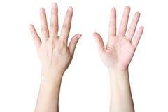 La mano fa il segno cinque Fotografie Stock