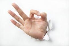 La mano fa il segno giusto Immagine Stock
