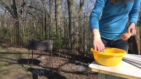 La mano fa lo shashlik sulla spaccatura Dietro fuoco di fuoco senza fiamma cuocia la carne archivi video
