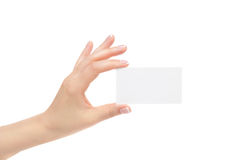 La mano femenina aislada sostiene la tarjeta blanca en un fondo blanco Fotos de archivo