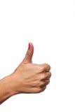 La mano femenina en pulgares sube la posición. Imágenes de archivo libres de regalías