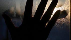 La mano femminile vuole toccare il tramonto, lubrificante cade sul vetro HD, 1920x1080 stock footage