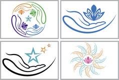La mano florece logotipos de la colección stock de ilustración