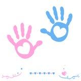 La mano gemela del bebé y del muchacho imprime vector de la tarjeta de felicitación de la llegada Fotografía de archivo