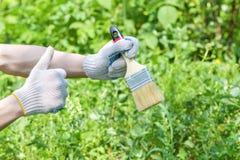 La mano gloved di un uomo tiene un'ampia spazzola per la verniciatura su un fondo verde fotografia stock libera da diritti
