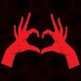 La mano gradice il cuore su priorità bassa senza giunte. illustrazione di stock