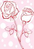 La mano ha abbozzato di rosa. illustrazione di stock