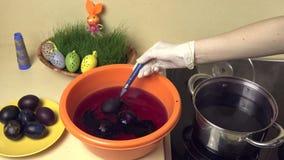 La mano ha messo l'uovo di Pasqua colourful nell'acqua Fest 4K della primavera video d archivio