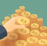 La mano ha messo la moneta alla scala dei soldi Immagini Stock