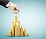 La mano ha messo le monete di oro Immagine Stock Libera da Diritti