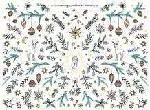 La mano ha schizzato gli elementi di progettazione floreale per il Natale illustrazione vettoriale