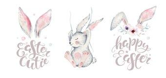 La mano ha schizzato il manifesto felice della sovrapposizione dell'iscrizione di tipografia del coniglietto di pasqua con l'elem royalty illustrazione gratis
