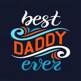 La mano ha schizzato mai il migliore manifesto dell'iscrizione di tipografia di papà Fotografia Stock