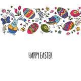 La mano ha schizzato Pasqua felice fissata come il logotype, il distintivo o icona di Pasqua Immagini Stock