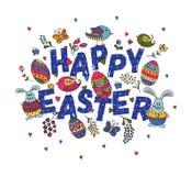 La mano ha schizzato Pasqua felice fissata come il logotype, il distintivo o icona di Pasqua Fotografia Stock