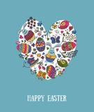 La mano ha schizzato Pasqua felice fissata come il logotype, il distintivo o icona di Pasqua Fotografie Stock Libere da Diritti