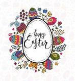 La mano ha schizzato Pasqua felice fissata come il logotype, il distintivo o icona di Pasqua Immagine Stock