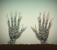 La mano humana parece árbol ilustración del vector