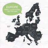 La mano ilustró el mapa del vector de Europa Fotografía de archivo