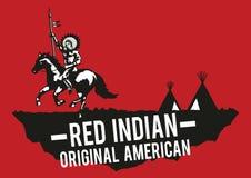 La mano india roja del aumento del nativo americano significó la victoria, backgrou rojo ilustración del vector
