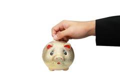 La mano isolata ha messo una moneta in un piggy Fotografia Stock
