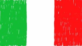 La mano italiana de la bandera dibujada anim?
