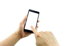 La mano izquierda del hombre que sostiene 5 negros 5 pulgadas de smartphone de la pantalla táctil imagen de archivo