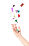 la mano lanza los accesorios para coser Fotografía de archivo libre de regalías