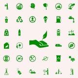 la mano lleva a cabo el icono del verde de la planta sistema universal de los iconos de Greenpeace para el web y el móvil ilustración del vector