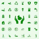 La mano lleva a cabo el icono del verde del planeta sistema universal de los iconos de Greenpeace para el web y el móvil ilustración del vector