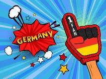 La mano masculina de la fan de deportes en guante aumentó para arriba la celebración del triunfo de la bandera de país de Alemani stock de ilustración