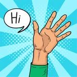 La mano muestra arte pop del gesto hola La mano que da la bienvenida de un hombre joven Sacudida alegre Vector retro del arte pop Imágenes de archivo libres de regalías
