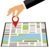 La mano pone una marca en mapa Ponga una marca en el mapa libre illustration