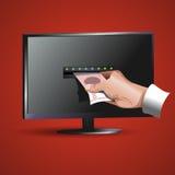 La mano prende i soldi al monitor Fotografia Stock