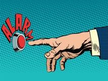 La mano presiona el botón de la alarma stock de ilustración