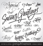 La mano puso letras a los saludos del día de fiesta fijados (el vector) Foto de archivo libre de regalías
