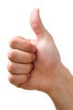 La mano que muestra los pulgares sube la muestra Fotos de archivo