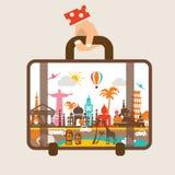 La mano que sostiene el equipaje, viaja en todo el mundo stock de ilustración