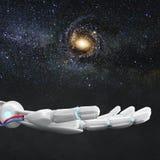 La mano robot bianca presenta lo spazio della galassia rappresentazione 3d Immagini Stock Libere da Diritti