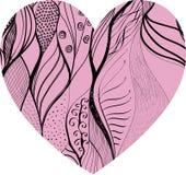 La mano rosada dibujada adornó el corazón Fotos de archivo