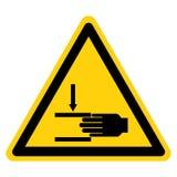 La mano schiaccia la forza da sopra il segno di simbolo, illustrazione di vettore, isolato sull'etichetta bianca del fondo EPS10 royalty illustrazione gratis
