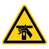 La mano schiaccia la forza da sotto il segno di simbolo, illustrazione di vettore, isolato sull'etichetta bianca del fondo EPS10 illustrazione vettoriale