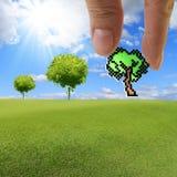 La mano seleziona l'icona dell'albero del pixel Fotografia Stock