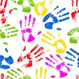 La mano senza cuciture stampa il fondo Fotografie Stock