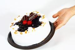 La mano sirve una charca de la torta Imagen de archivo libre de regalías